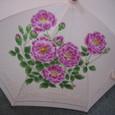 ピンクのつる薔薇の花のパラソル (綿100%)