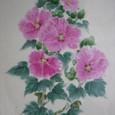 芙蓉の花の絵 (男物紬地 絹100%)