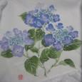 幅広のレースの付いたハンカチ(ブルーの萼紫陽花)