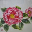 椿の花 「正義」 薄い絹の羽二重に描く