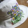 都忘れの花の白の帽子 (麻 100%)