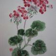 ゼラニウムの花(絹の帯地に描く 額装丁)