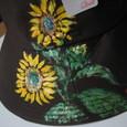 向日葵の花の帽子 茶 木綿100%