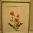 真っ赤なガーベラの花 (羽二重 絹100%)額装丁