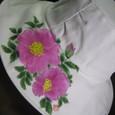 ハマナスの花の帽子 白 木綿100%