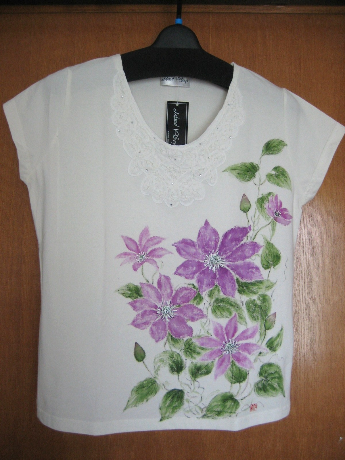 クレマチスの花のインナー 白 木綿100%