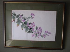 ホトトギスの花の絵(絹 額装丁)