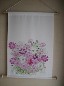 コスモスの花のタペストリー(絹)