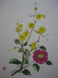 蝋梅と小さな椿の花