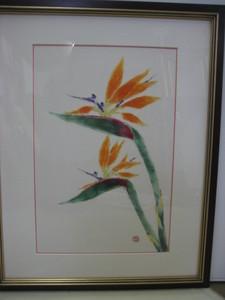 極楽鳥花の花の絵の額