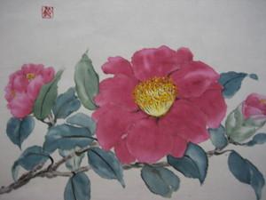 赤い山茶花の花