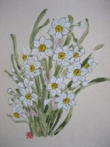 日本水仙の花( 紬の布地に描く)