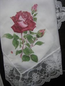ばらの花の絵 (レース付き木綿のハンカチ)