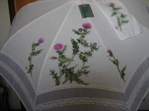 白い折りたたみパラソル(あざみの花の絵)