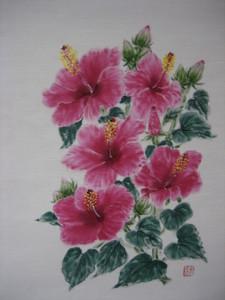 ハイビスカスの花の絵 (白の紬地 絹10%)