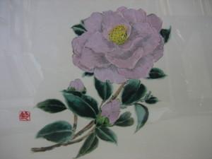 椿の花 「羽衣」 絹の羽二重に描く