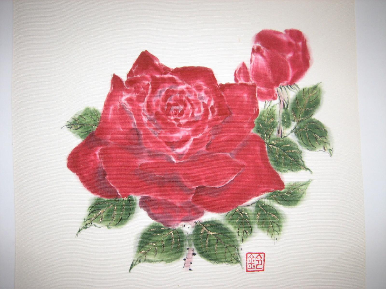 真っ赤な 薔薇の花(しおぜの帯地 絹100%)