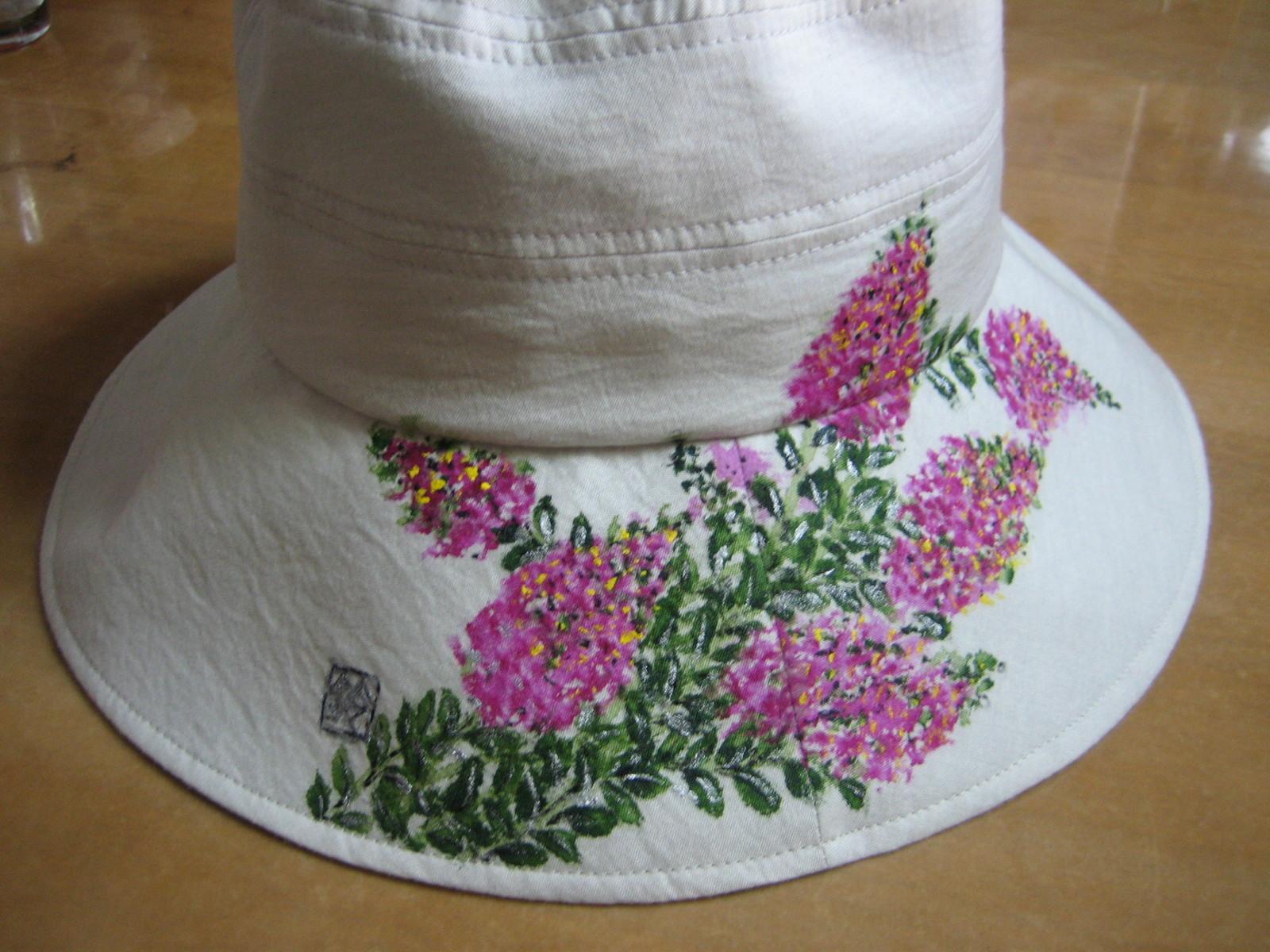 サルスベリの花の帽子 (綿100%)