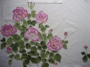 薔薇の花のエプロン (木綿)