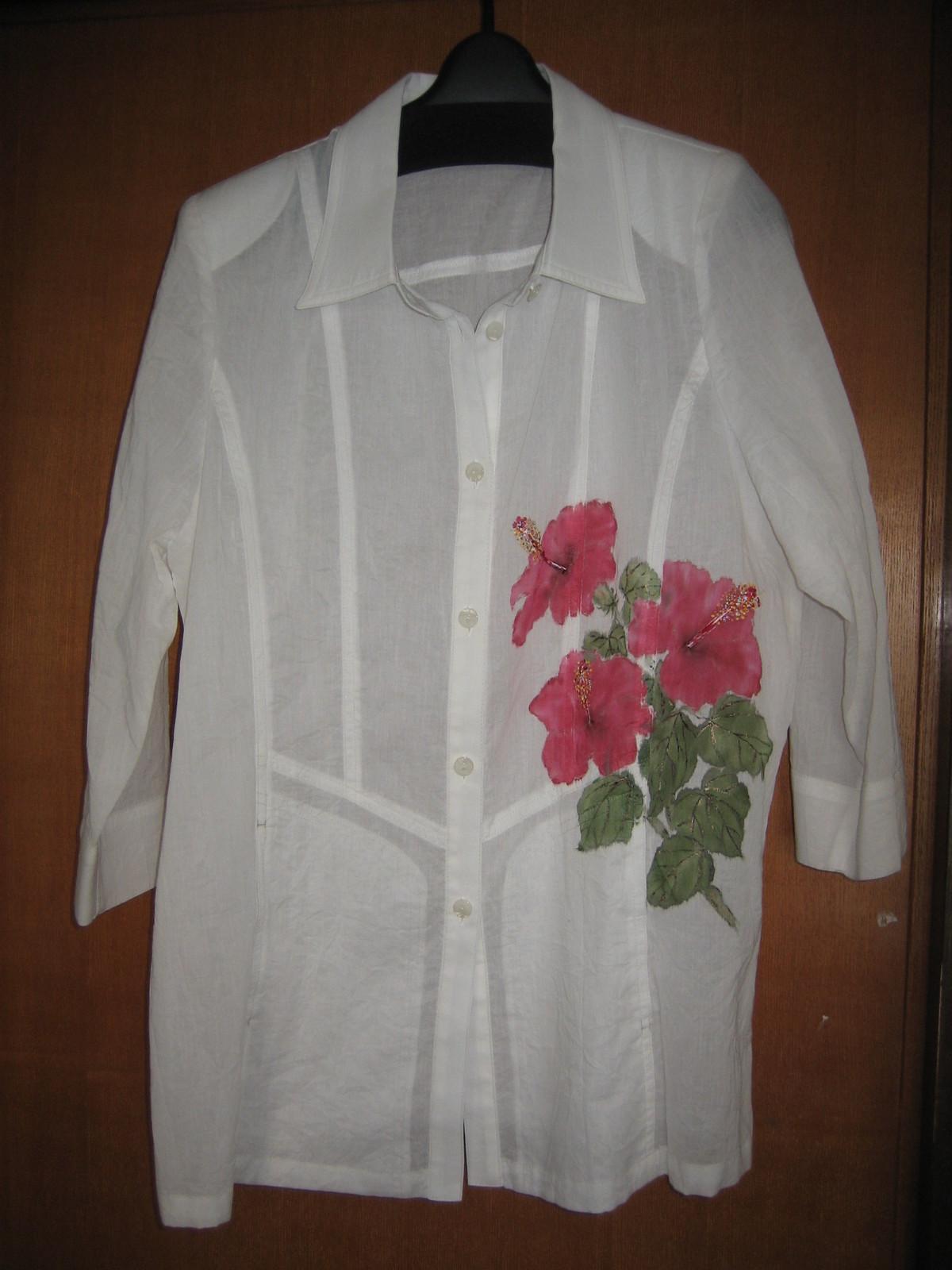 ハイビスカスの花 シャツブラウス 木綿100%