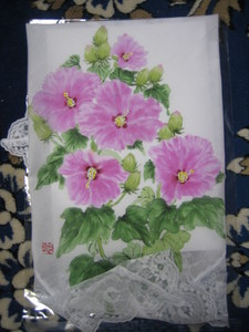 芙蓉の花の絵のハンカチ (大判レース付き 木綿100%)