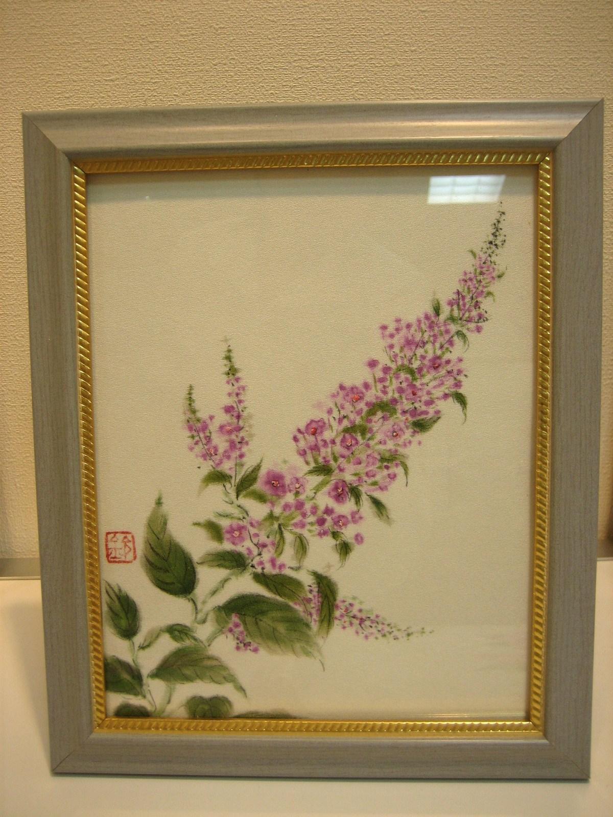ブットレアの花 (ちりめん 絹100%) 額装丁