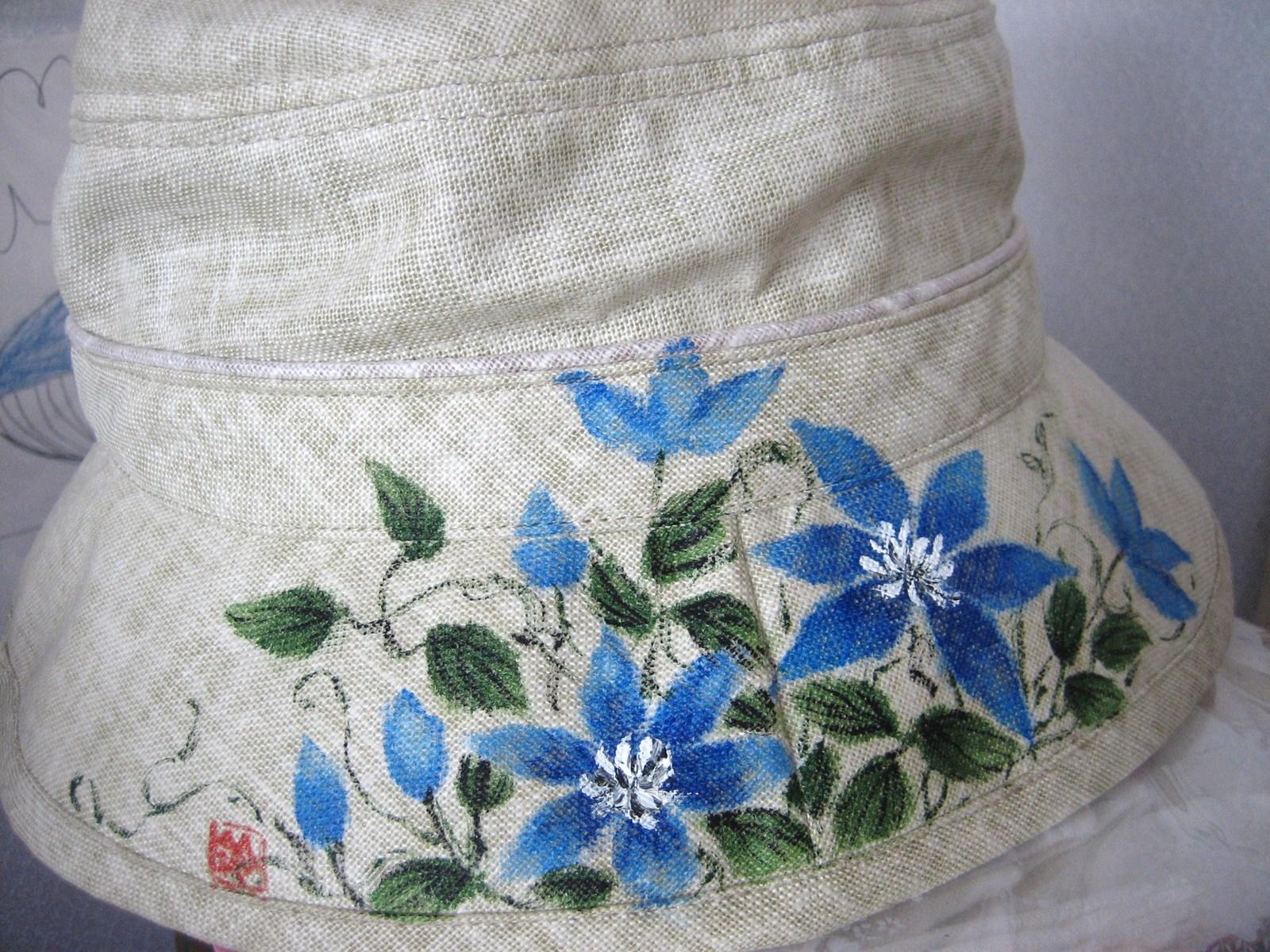 姫テッセンの花の帽子 (麻 100%)