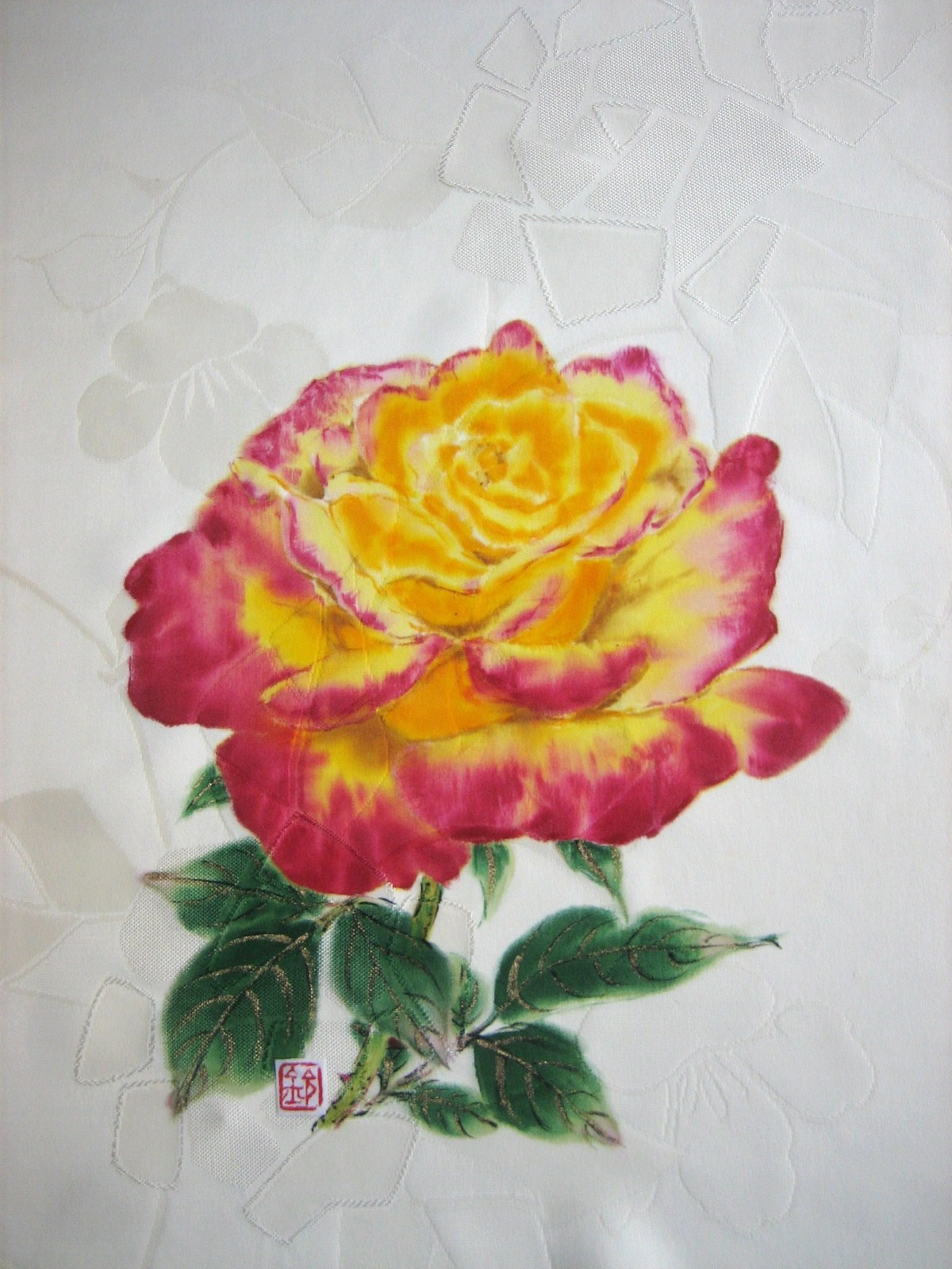 薔薇栄光の花の絵 着物地(地模様付き) 絹100%