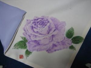 紫系のバラの花のふくさ(白寿ちりめん ブルーの着物裏地付き どちらも絹100%)