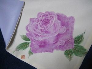 ピンクのバラの花のふくさ(白寿ちりめん 裏は着物裏地を使用 いずれも絹100%)