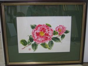 椿の花 「正義」 羽二重に描く