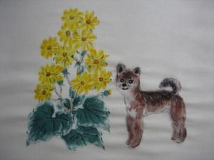 ツワブキの花とコロちゃん(白い紬地 絹100%)