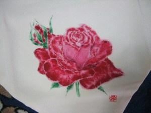 真っ赤なバラの花のふくさ(白寿ちりめんに着物裏地付き 手製 絹100%)