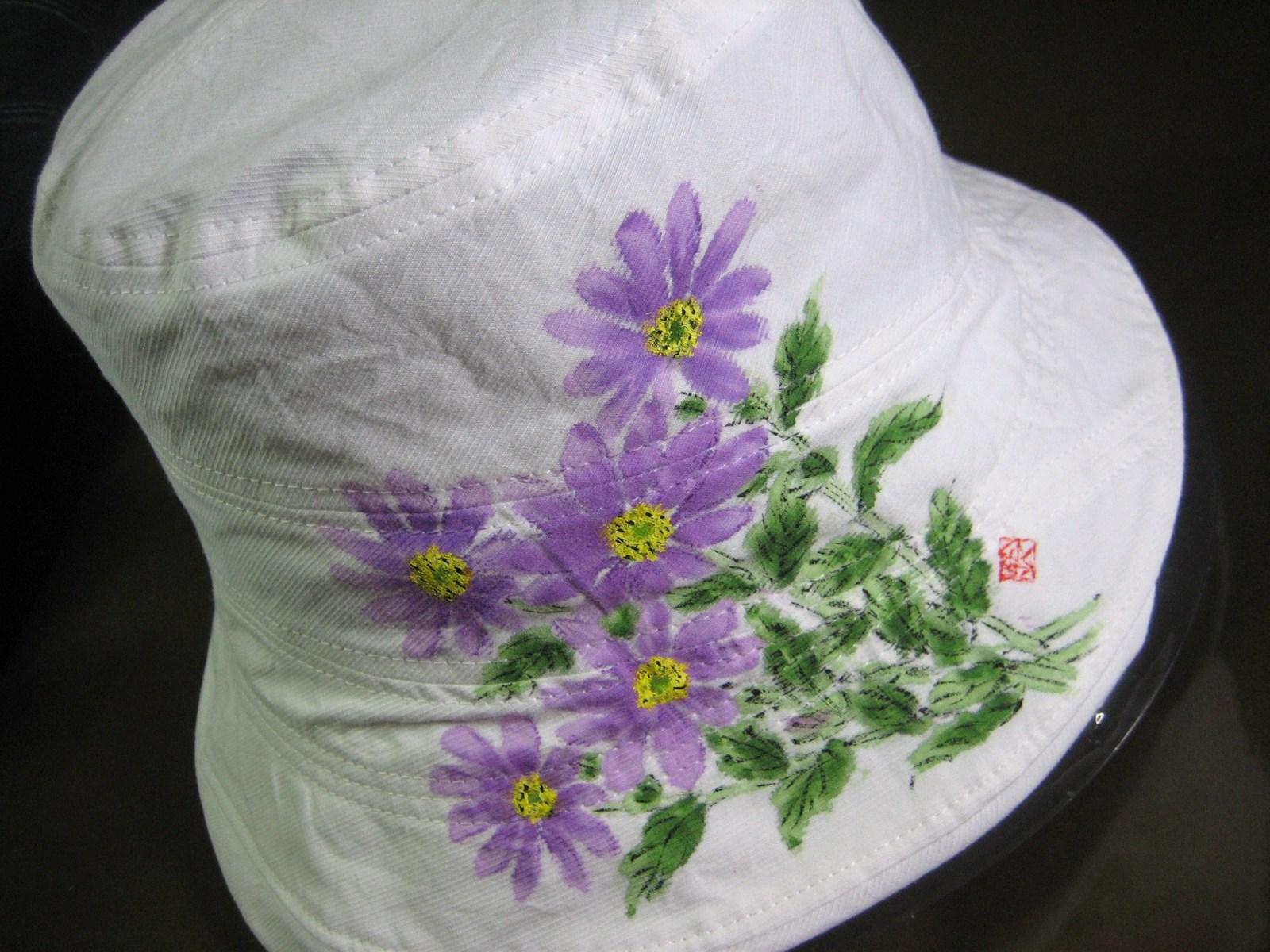都忘れの花の帽子 白 木綿100%