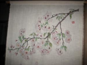 桜の小枝の花の絵(木綿 手縫い)