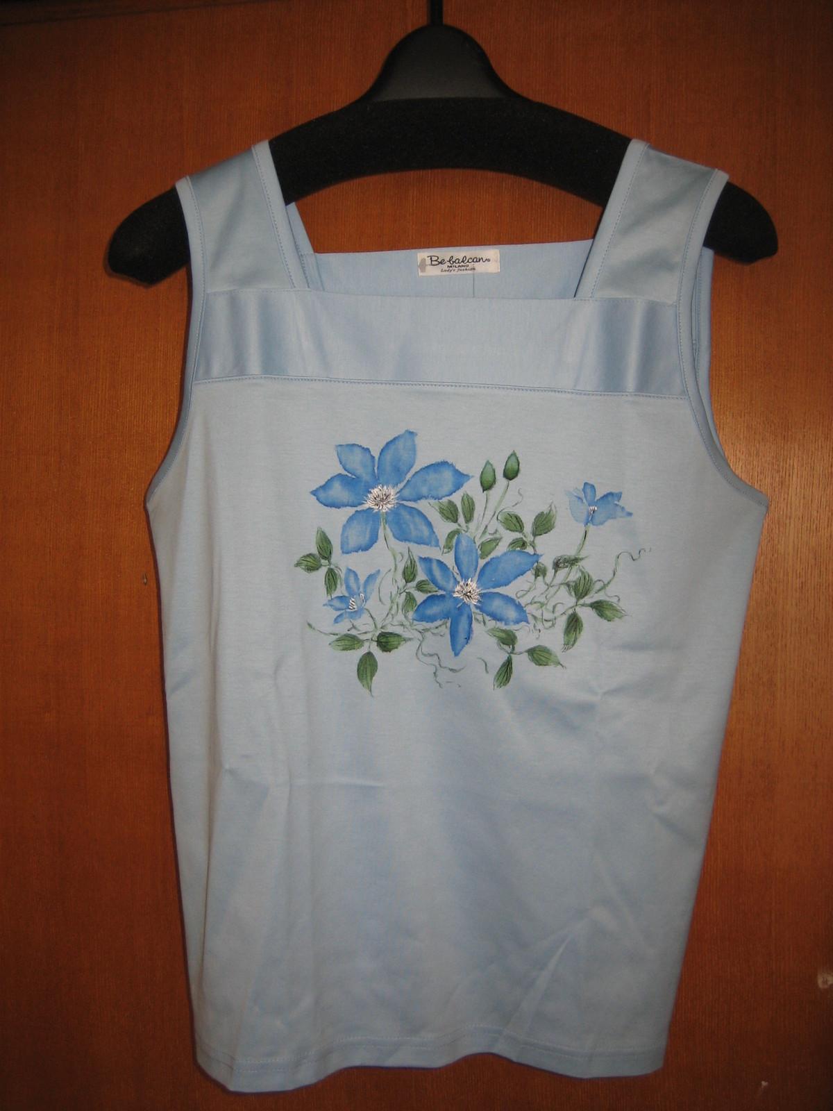 クレマチスの花 ブルーのインナー 木綿100%
