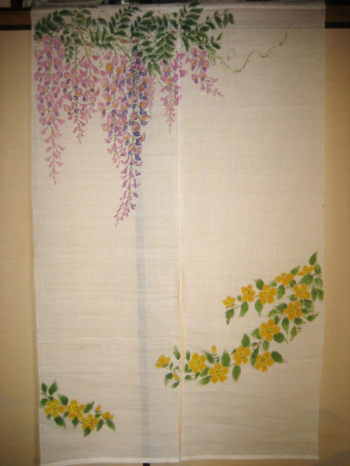 藤の花とヤマブキの花 白ののれん 麻100%