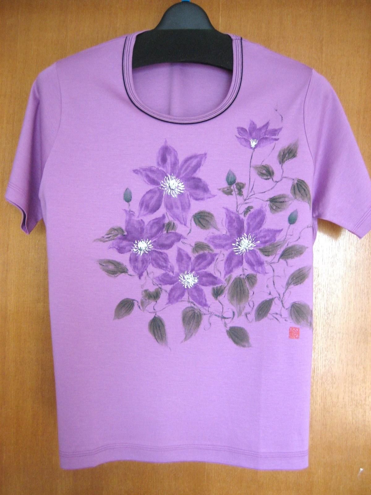 テッセンの花のTシャツ 紫 木綿100%